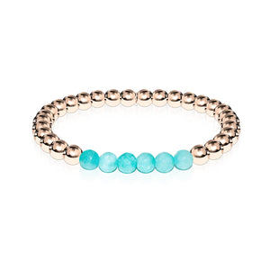 Cheerful | 18k Rose Gold | Aquamarine Jade | Gemstone Expression Bracelet