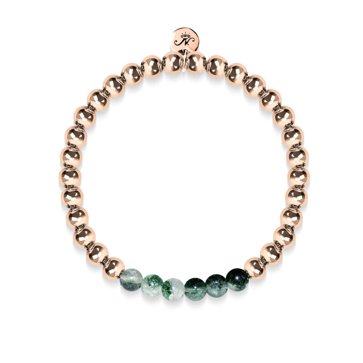 Grateful | 18k Rose Gold | Green Leaf Agate | Gemstone Expression Bracelet