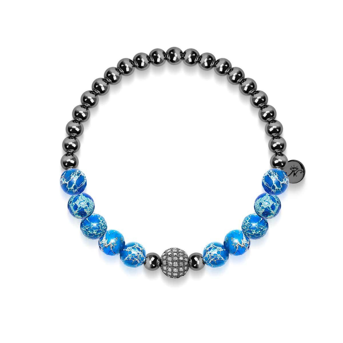 Atlantis | Charcoal Steel | Crystal Sea Stone Bracelet