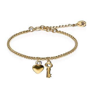 18k Gold | Key to My Heart | Dolce Vita Charm Bracelet