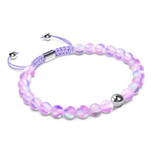 Lavender | Silver | Mermaid Glass Macrame Bead Bracelet