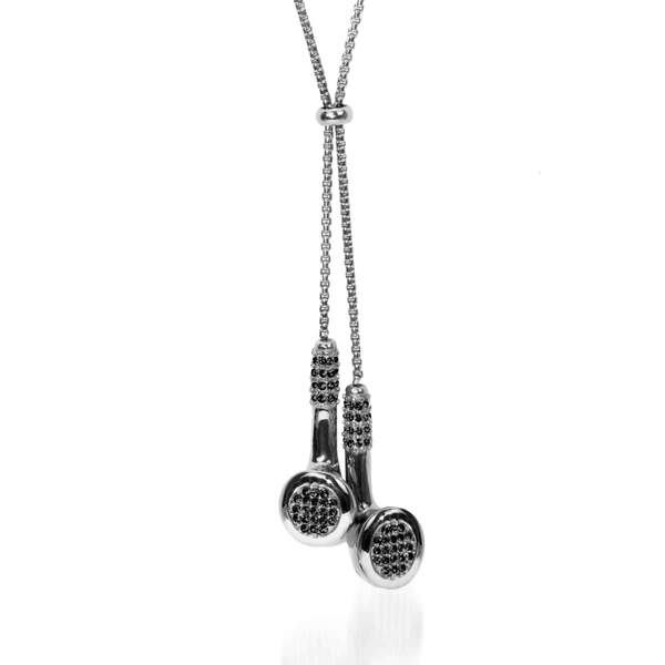 Men's | BPM | Silver | Black Crystal Headphones Necklace