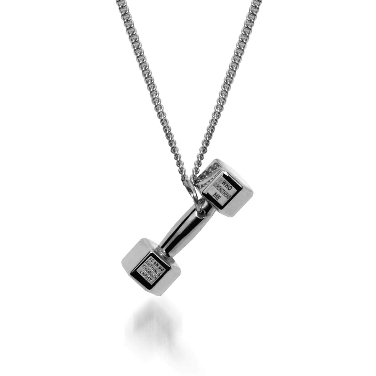 sterling barbell beautiful fitness is gym strong necklace silver dumbbell