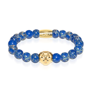 18k Gold Lion | Deep Sea Agate | Kingdom Bead Bracelet