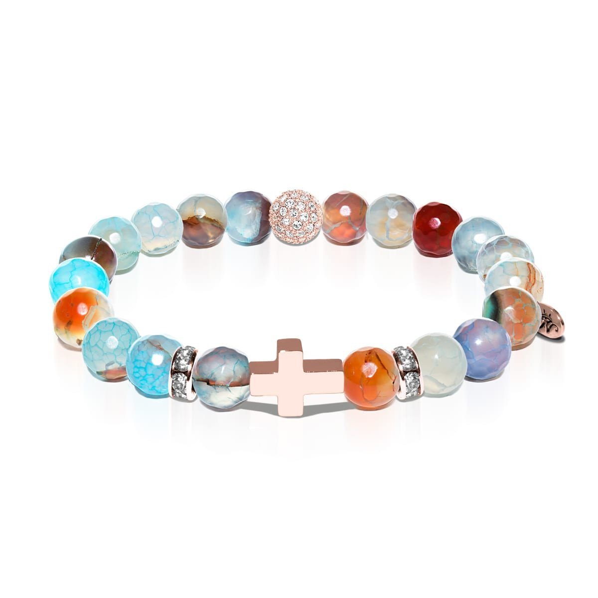 St. Therese of Lisieux | Rose Gold Cross | Blue Dragon Grain Agate Bracelet
