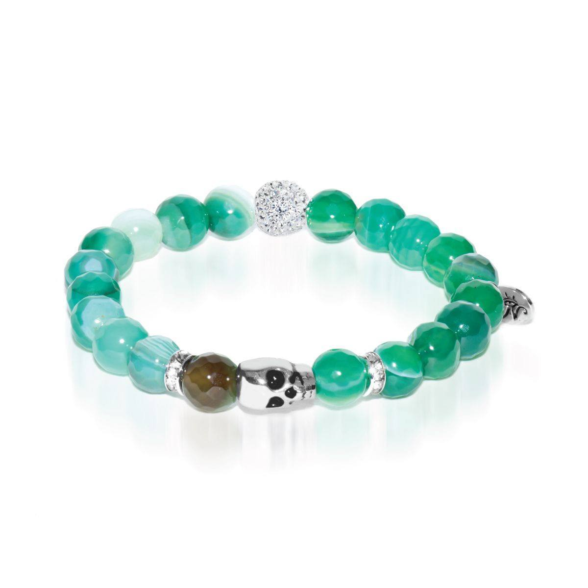 Book of Shadows | White Gold Crystal Skull Charm Green Striped Faceted Agate Bracelet