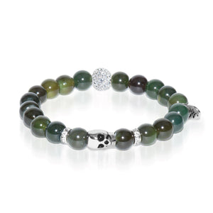 Coven | White Gold Crystal Skull Charm Dark Green Agate Bracelet