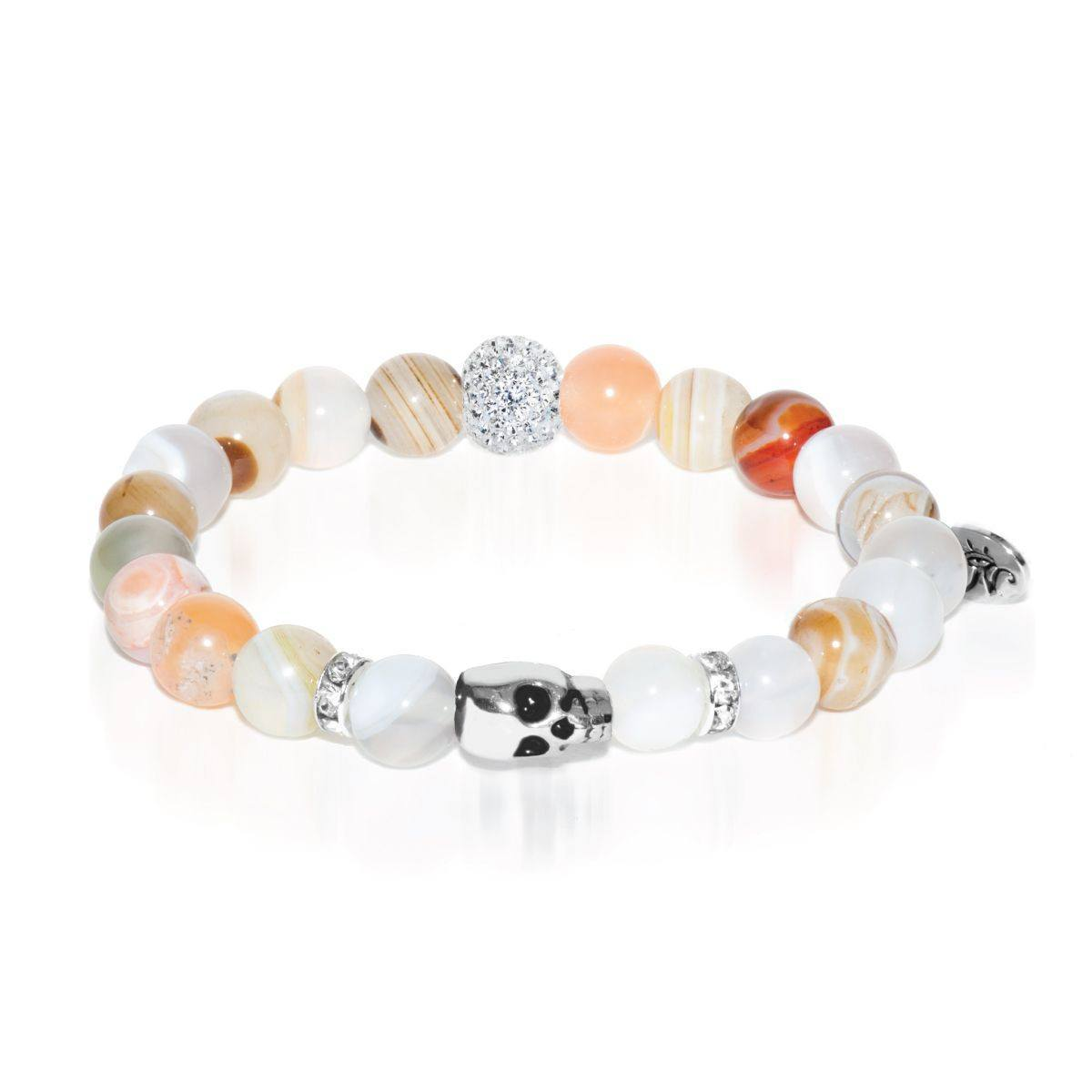Dark Moon | White Gold Crystal Skull Charm Grey Striped Agate Bracelet