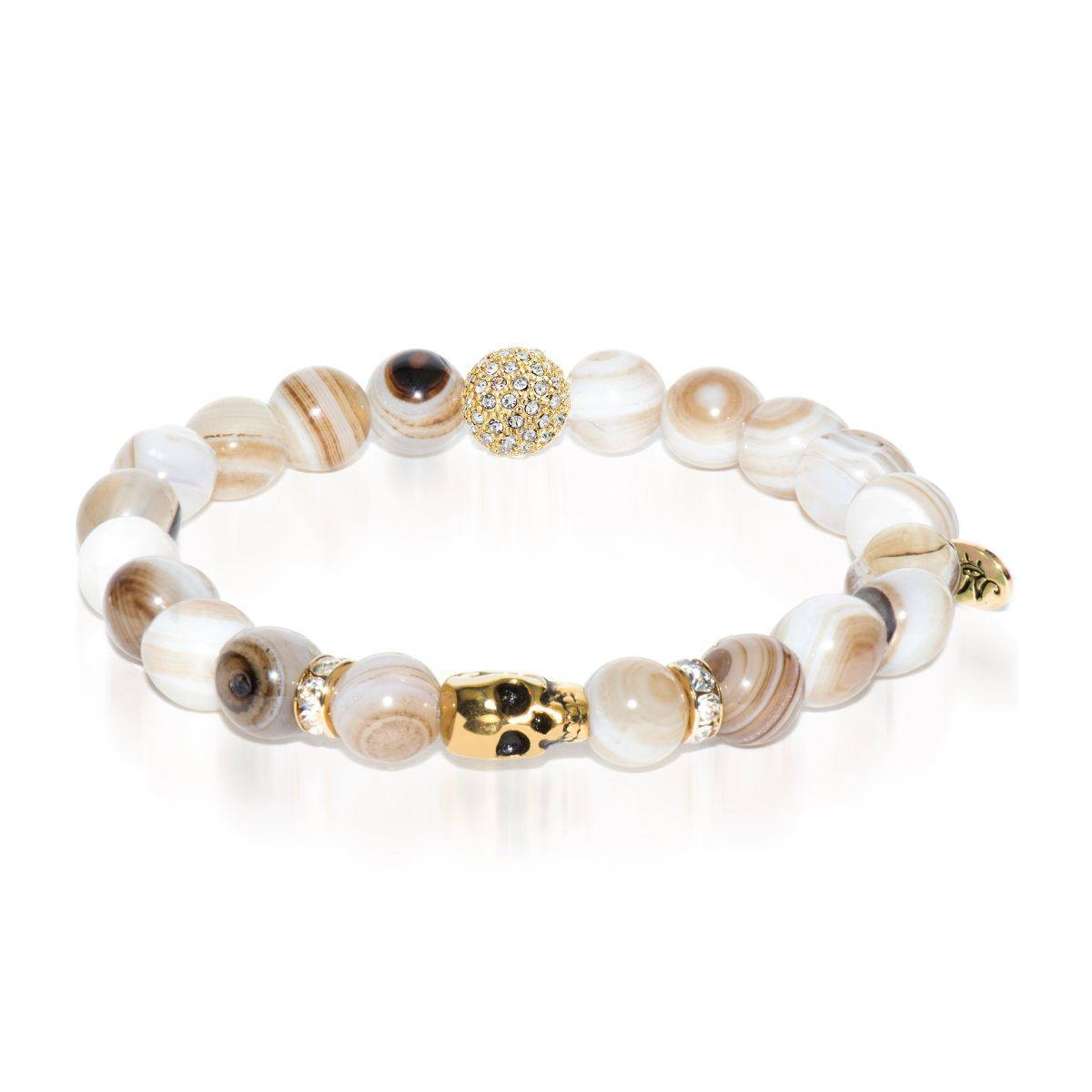 Numerology | Gold Crystal Skull Charm Brown Striped Agate Bracelet