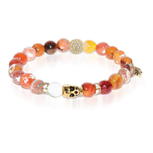 Labyrinth | Gold Crystal Skull Charm Orange Weathered Agate Bracelet