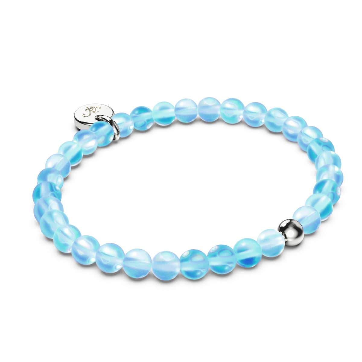 Aquamarine | Silver | Mermaid Glass Bead Bracelet
