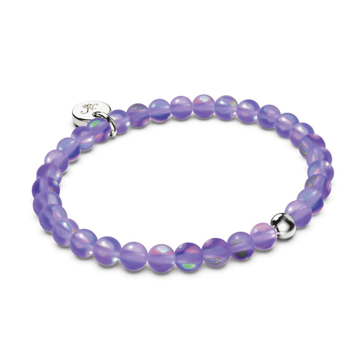Violet | White Gold Vermeil | Mermaid Glass Bead Bracelet