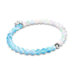 Aquamarine & White | Silver | Mermaid Glass Bead Bracelet