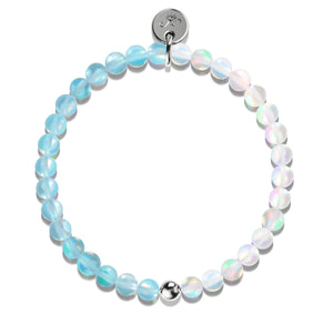 Aquamarine & White |  .925 Sterling Silver | Mermaid Glass Bead Bracelet