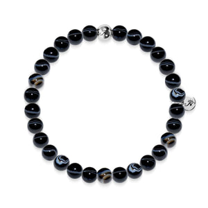 Courage | Bracelet Silver Essence Black Line Agate