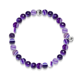 Reflection | Silver Essence Purple Lines Agate Bracelet