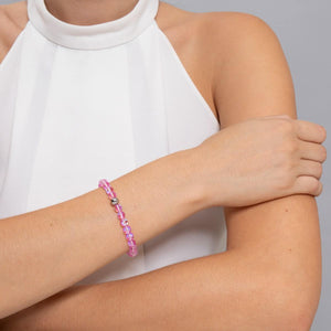 Pink | Silver | Mermaid Glass Bead Bracelet