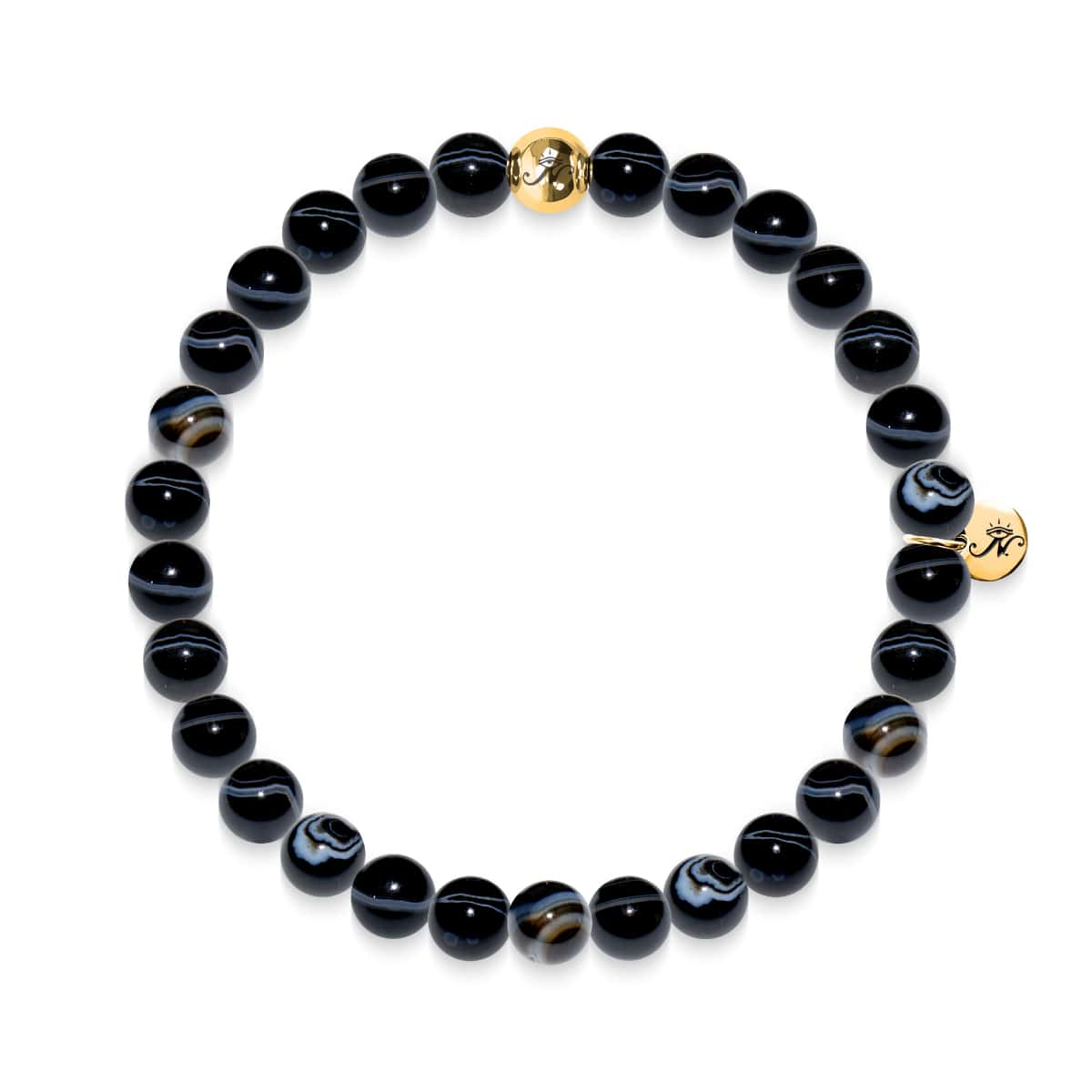 Courage | Bracelet Agate Gold Line Black Line