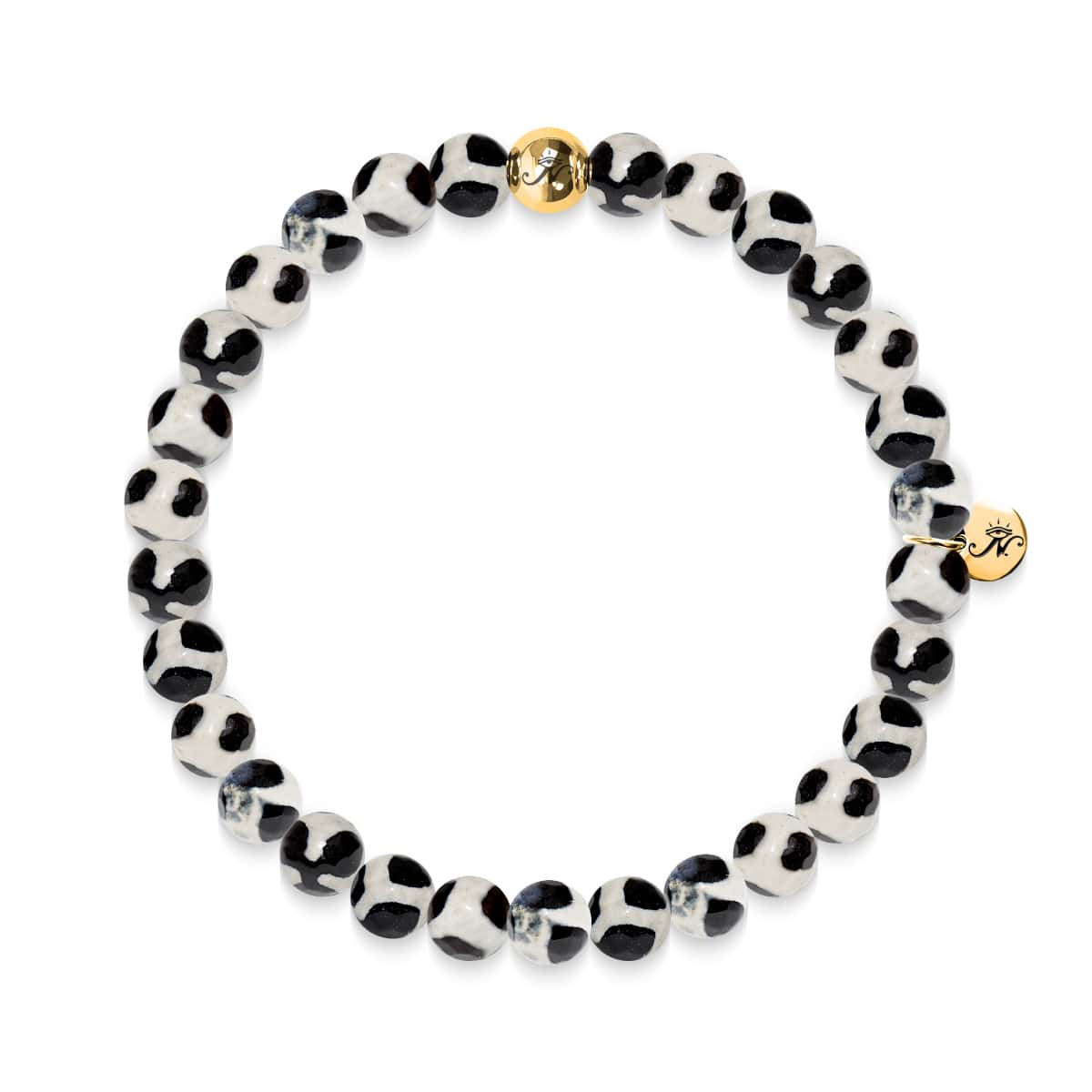 Prosperity | Gold Essence Black Spotted Faceted Agate Bracelet
