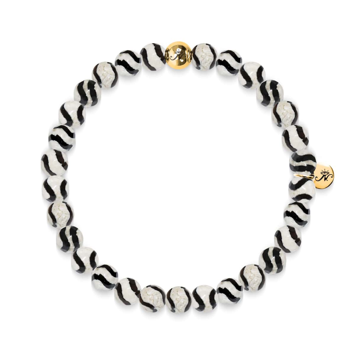 Bliss | Gold Essence Black Wavy Lines Agate Bracelet