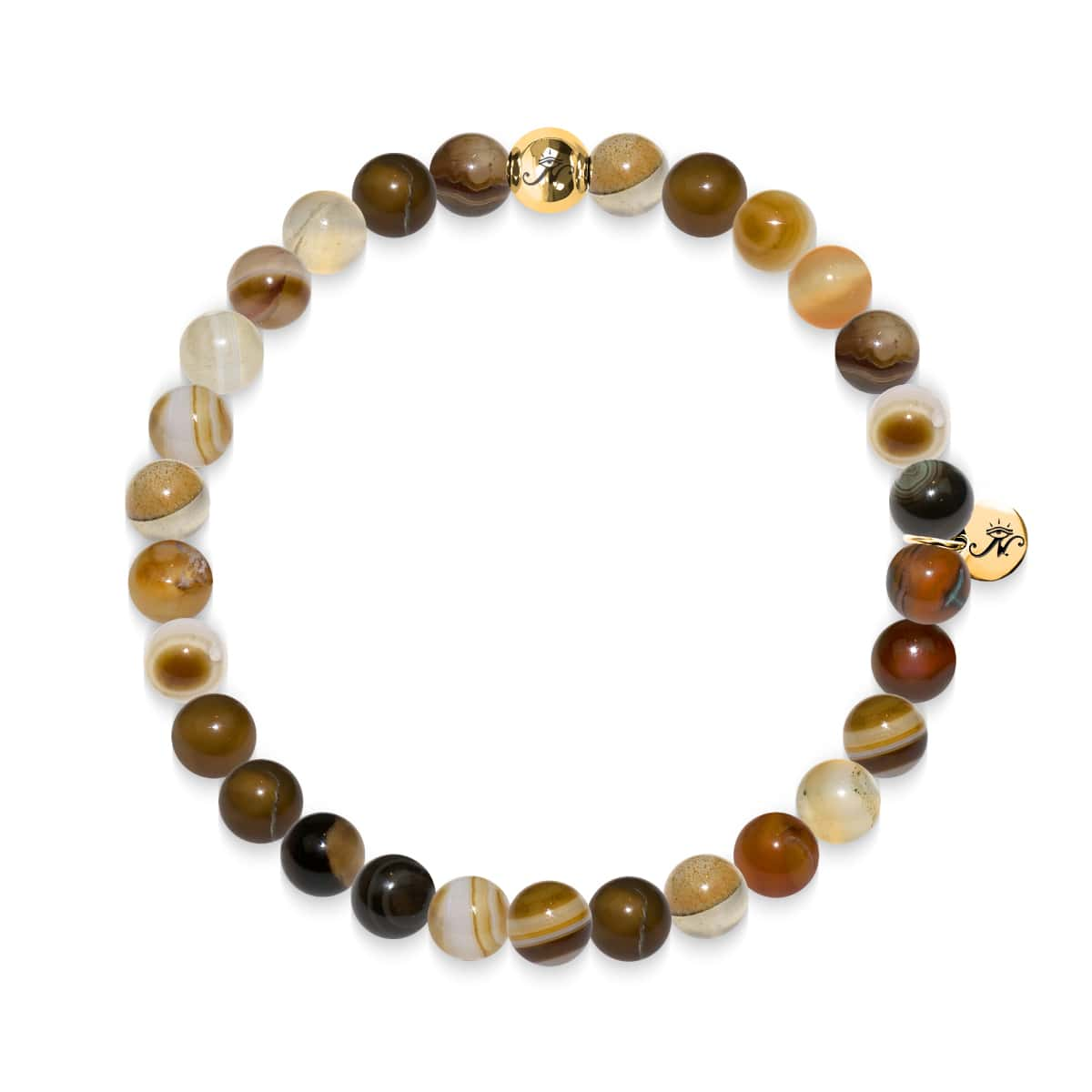 Intelligence | Gold Essence Grey Line Agate Bracelet