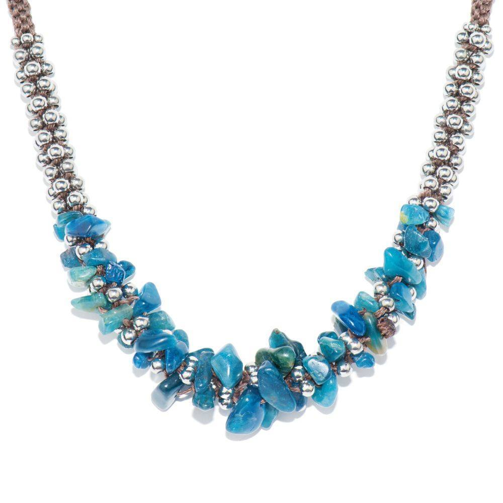 Collier Terra Bella bleu Happy Crazy Agate Stone