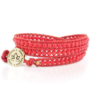 18K Gold and Red Coral on a Red Leather Wrap