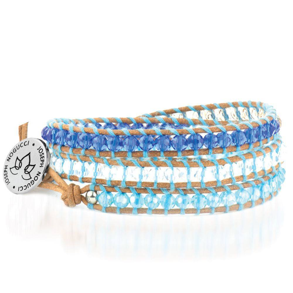 Blue Crush Crystal & Leather Lotus Wrap