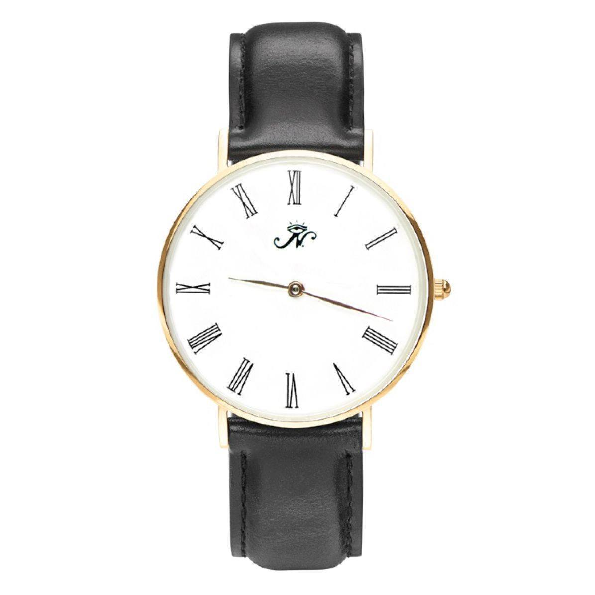 Lansdowne - Designer Watch Timepiece in Gold with Genuine Black Leather and Roman Numerals Style Face