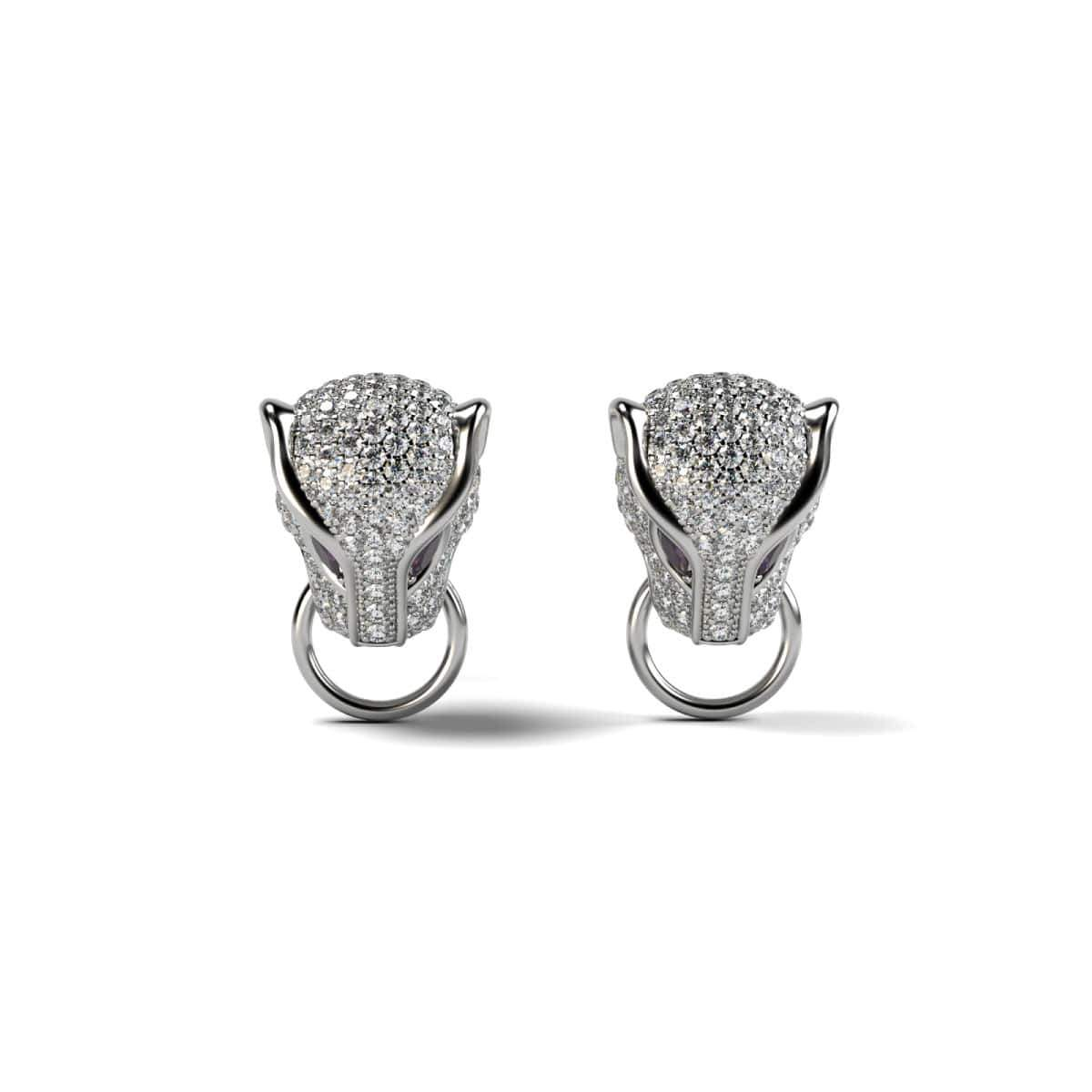 Panthera by Keysi Sayago | 18k White Gold | Cubic Zirconia Crystal Earrings
