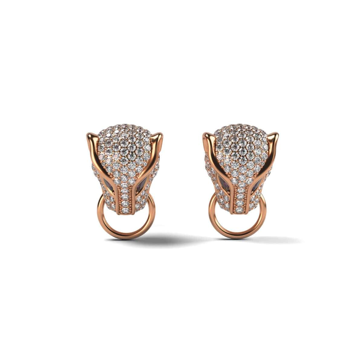 Panthera by Keysi Sayago | 18k Rose Gold | Cubic Zirconia Crystal Earrings