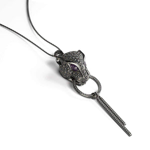 Panthera by Keysi Sayago | Gunmetal | Cubic Zirconia Crystal Necklace