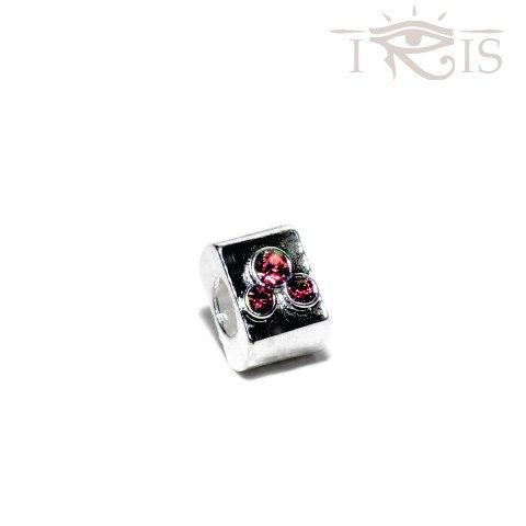 Jess - Pink Crystal Triple Jewel Silver Filled Charm from IRIS