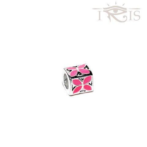 Judith - Pink Enamel Flower Box Silver Filled Charm from IRIS