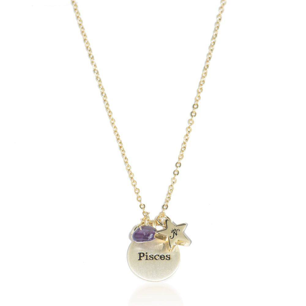 Pisces gold zodiac crystal amethyst birthstone necklace