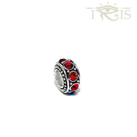 Grace - Red Crystal Queen Ring Silver Filled Charm from IRIS