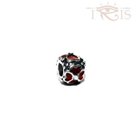 Marci - Red Enamel Four Leaf Silver Filled Charm from IRIS