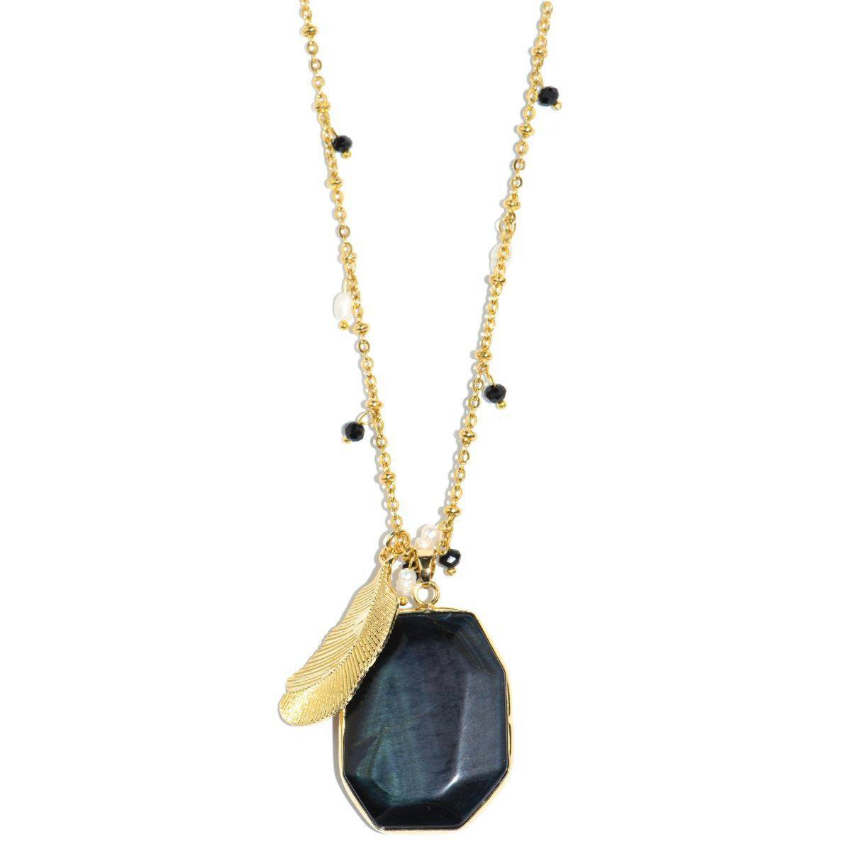 Midnight Sun Black Pietersite Stone and Gold Feather Necklace