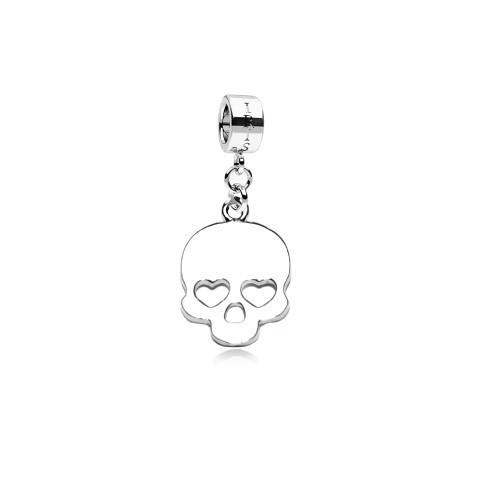 Love Me to Death - Silvertone Heart Skull Rhodium Filled Charm from IRIS