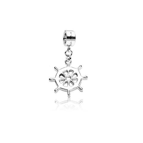 Nautical Nemo - Silvertone Nautical Wheel Rhodium Filled Charm de IRIS
