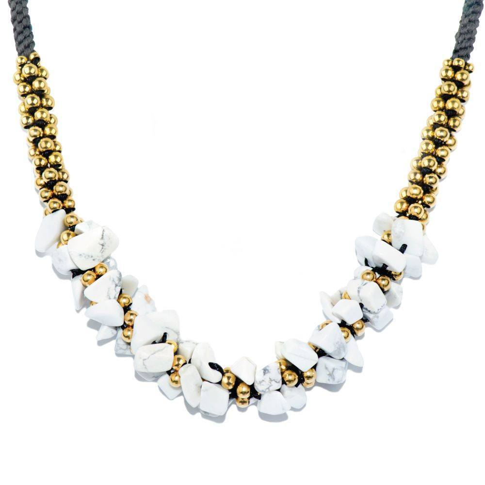 White Howlite Stone Terra Bella Necklace Gold