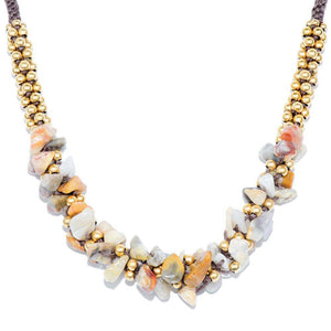 Wood Line Jasper Terra Bella Necklace Gold
