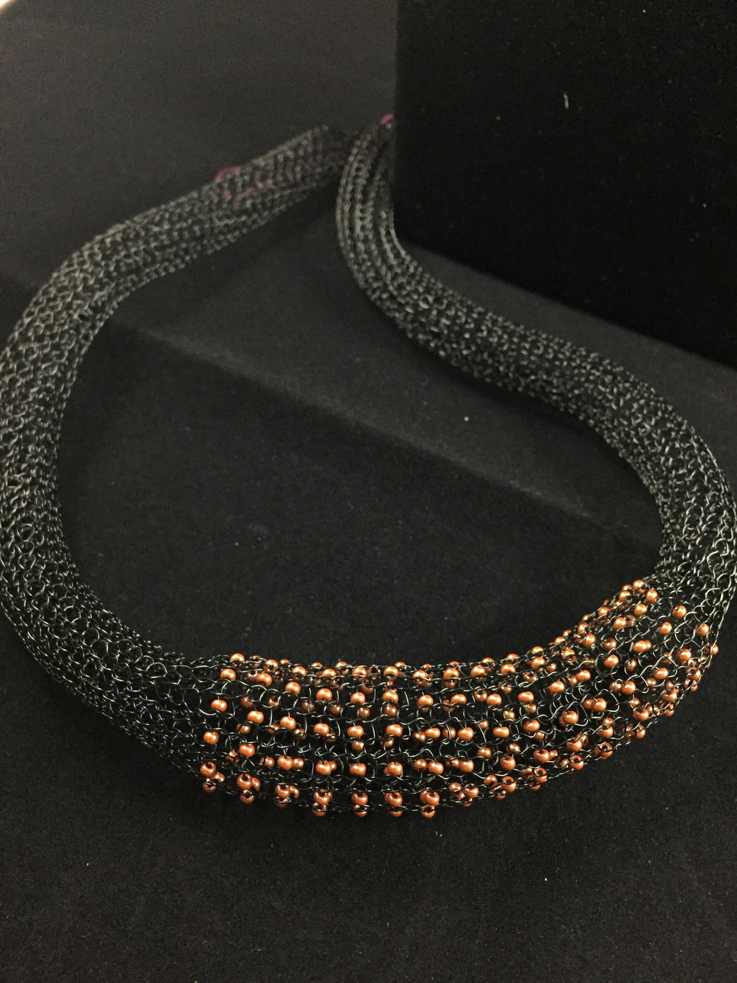 Black chunky wire beaded necklace