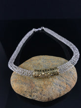 Silver and Gold necklace hand crocheted from wire