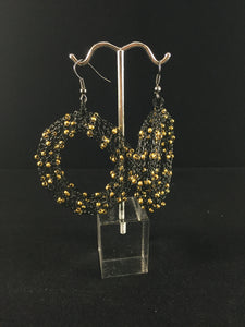 Black and gold handmade earrings