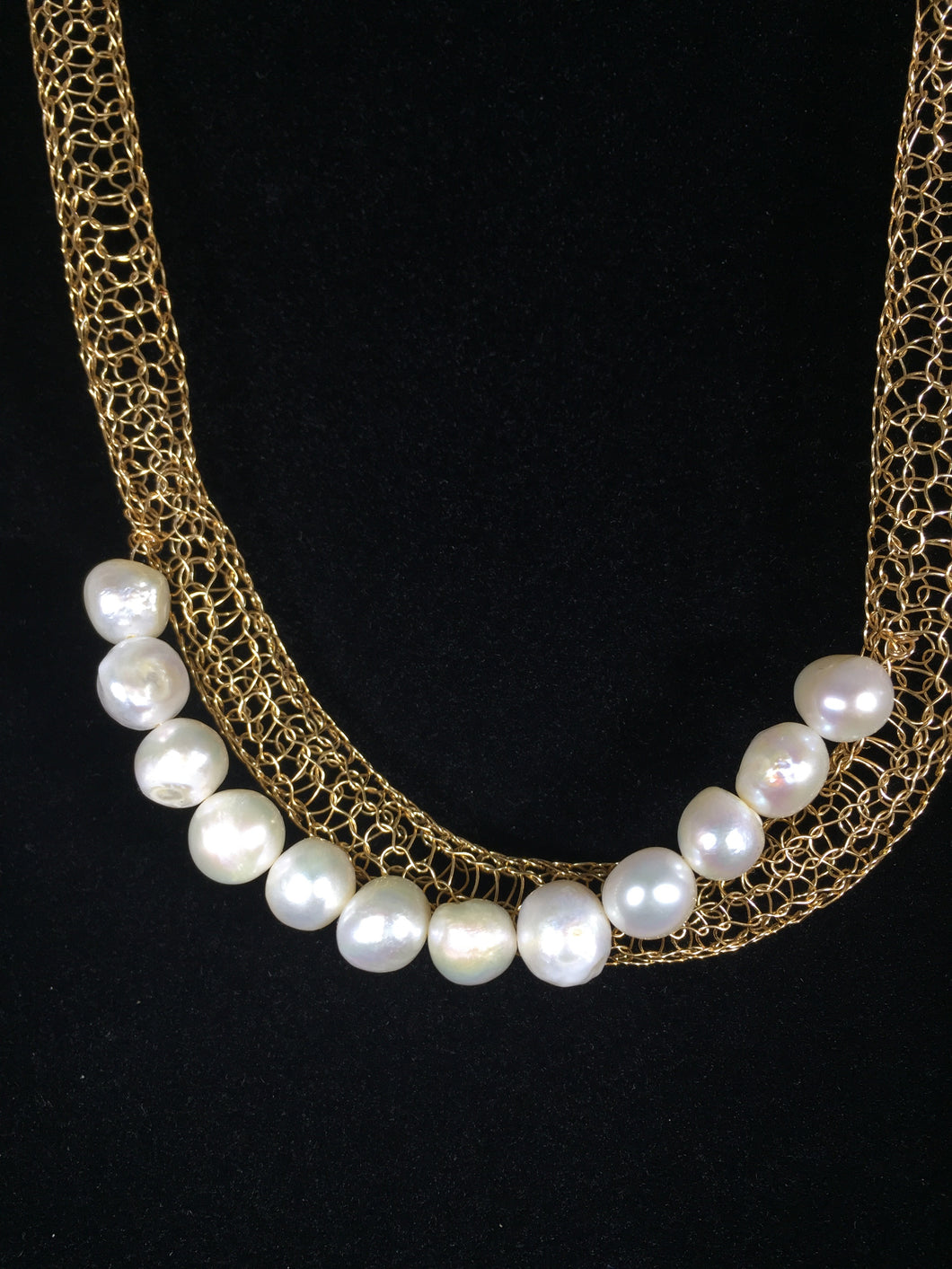 Gold with draped pearls necklace