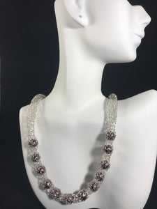 Silver and plum pearl necklace