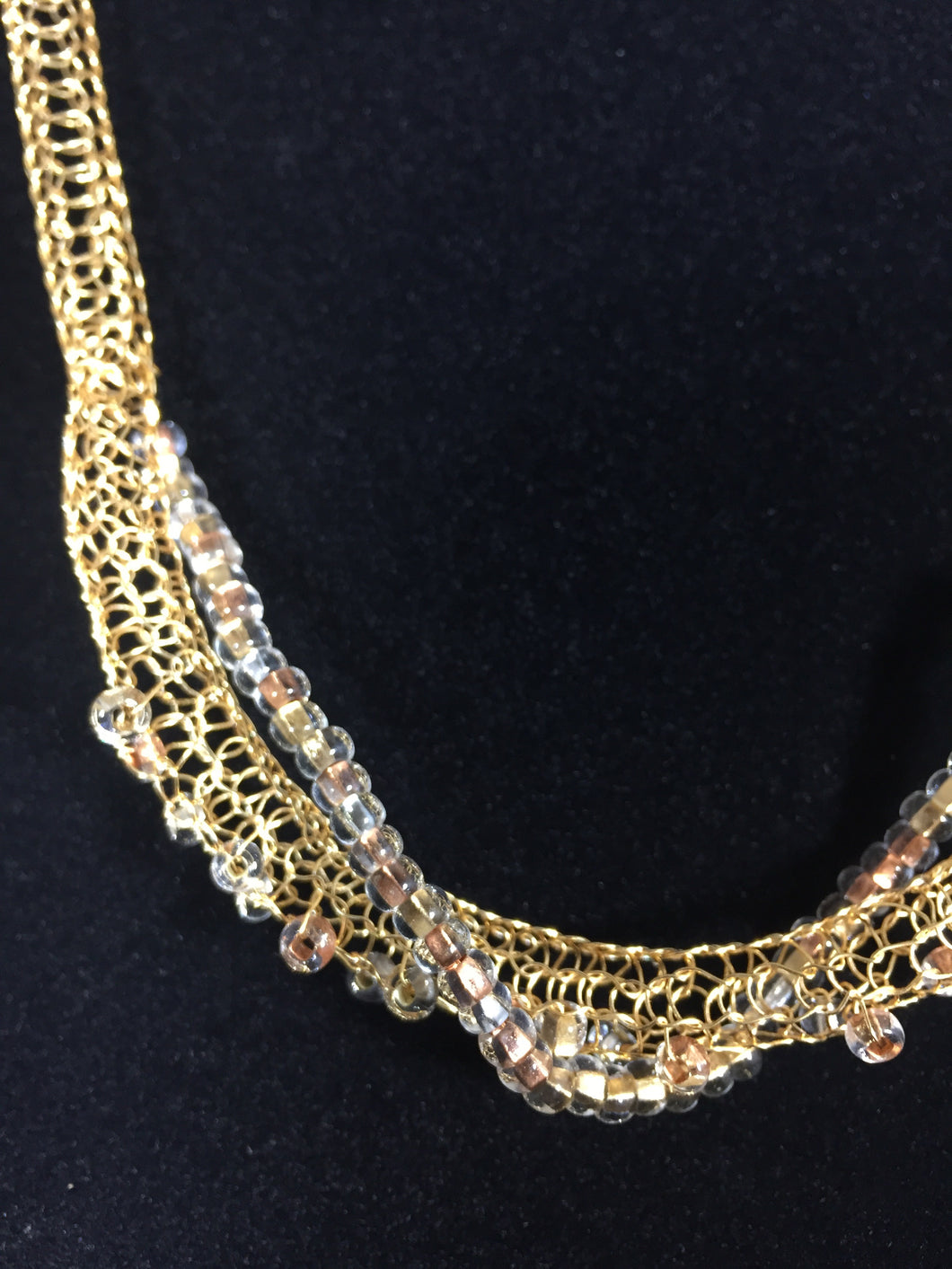 Gold necklace with foil beads
