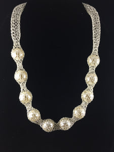 Silver large pearl bead necklace