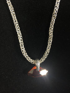 Silver necklace with red Swarovski crystal